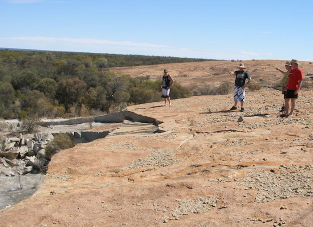 Alan, Paul Kim and Rob at the top of Boorabbin Quarry.