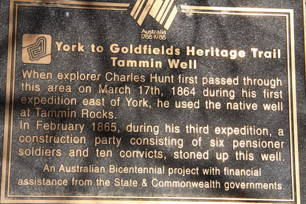 Plaque at Tammin Well, February 2015. Photograph by Graham Howe.