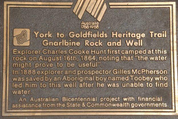 Bicentennial plaque at Gnarlbine.