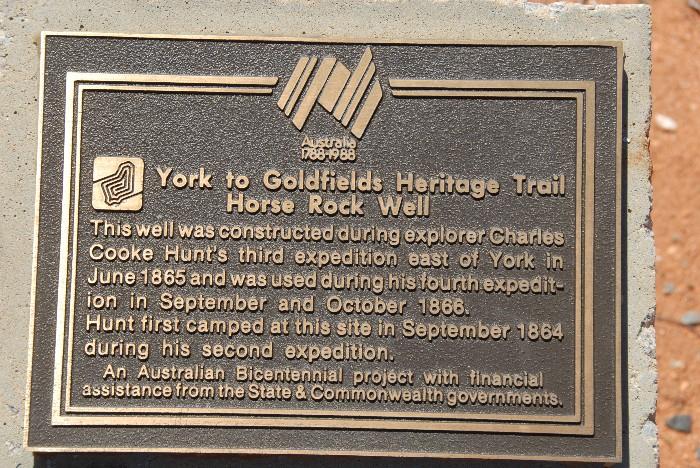 The Horse Rock plaque.