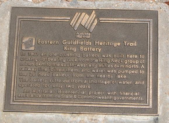Bicentennial plaque at King Battery.