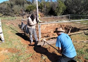 Lifting the fence to get the levels correct.