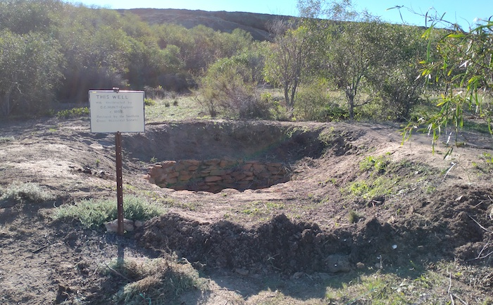 The soil removed from Moorine Well was used to repair the bunding where it had been eroded.